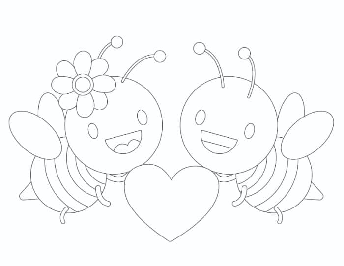 Love coloring pages like this bees in love printable coloring page isn't just for Valentine's; they're great anytime you want to show you care.