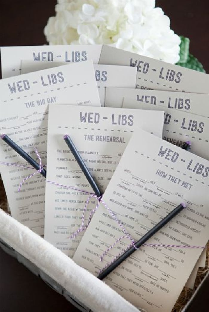 Laugh so hard you'll cry with these free bridal shower printable Mad Libs games!