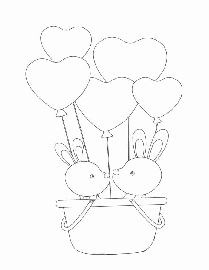 These bunnies in a basket with heart balloons make a cute love coloring page for adults and kids.