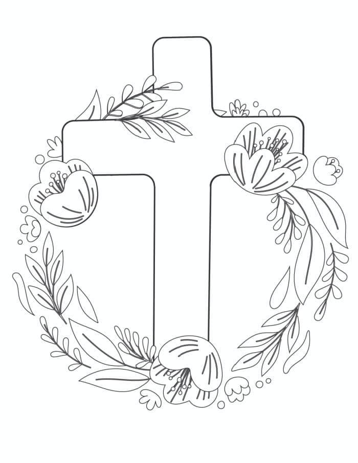 The first of the free Easter cross coloring page printable is the simplest featuring a plain cross with an elegant abstract floral wreath.