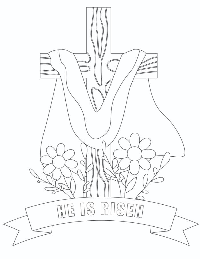 This free he is risen coloring page printable is a great way for kids or adults to commemorate the religious meaning behind Easter.