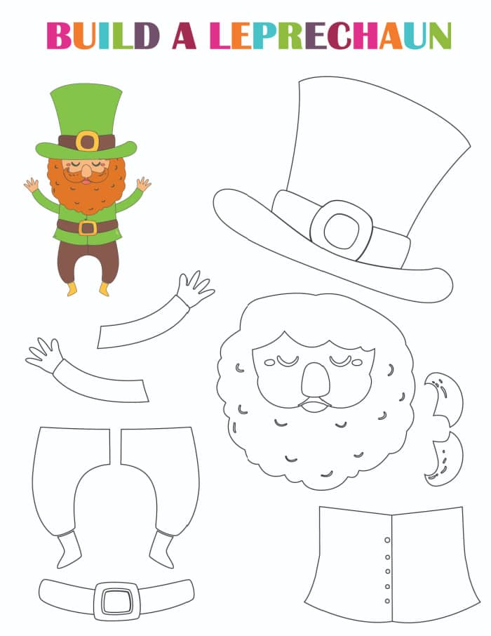 Keep the fun going with this printable leprechaun coloring page; color it before putting the leprechaun together.