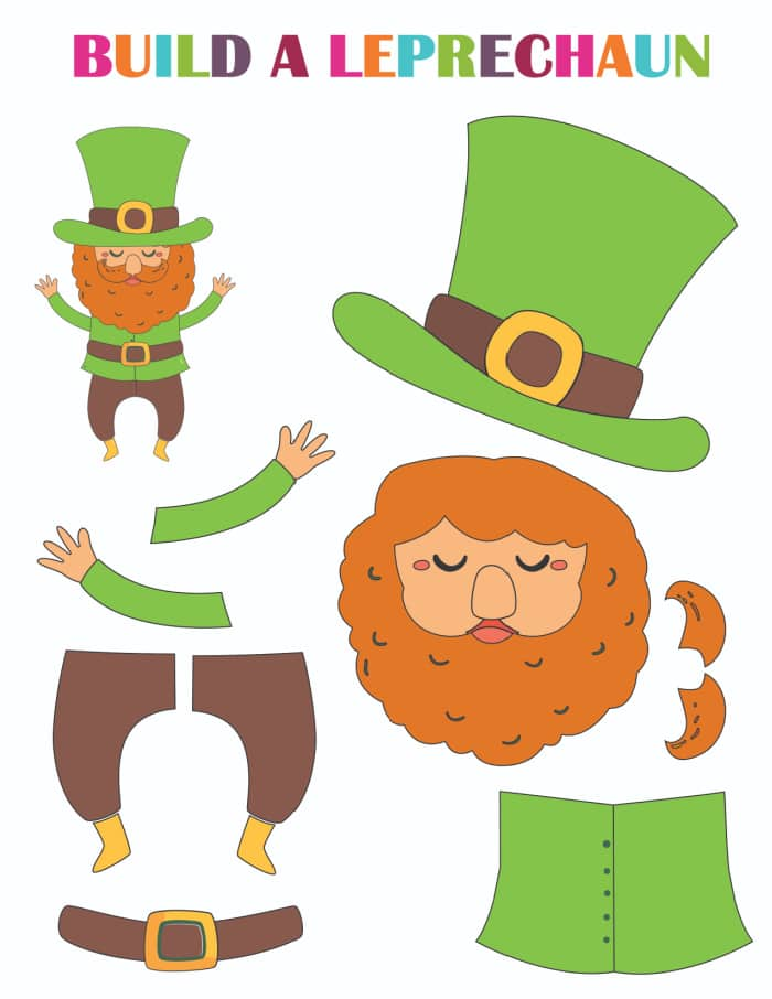 This leprechaun printable is ready to go; all you need are scissors and glue to finish this printable St Patrick's Day craft.