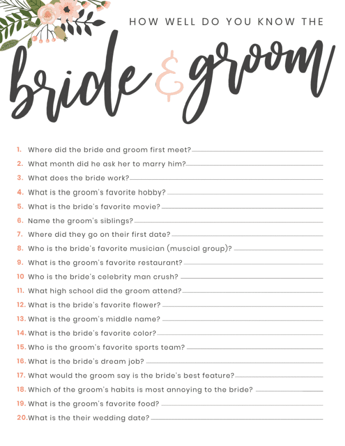 This free printable bridal shower game of how well do you know the bridge and groom is a tradition at most bridal shower parties.