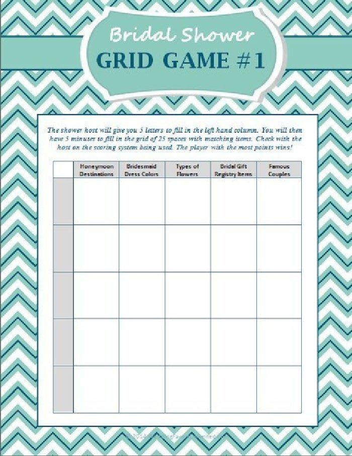 Things are heating up with this free printable bridal shower game that is reminiscent of Scattergories!