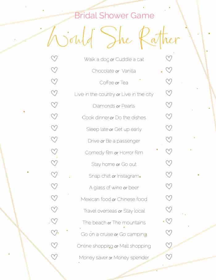 This would she rather free printable bridal shower game is a good way to put guests' knowledge of the bride to the test!