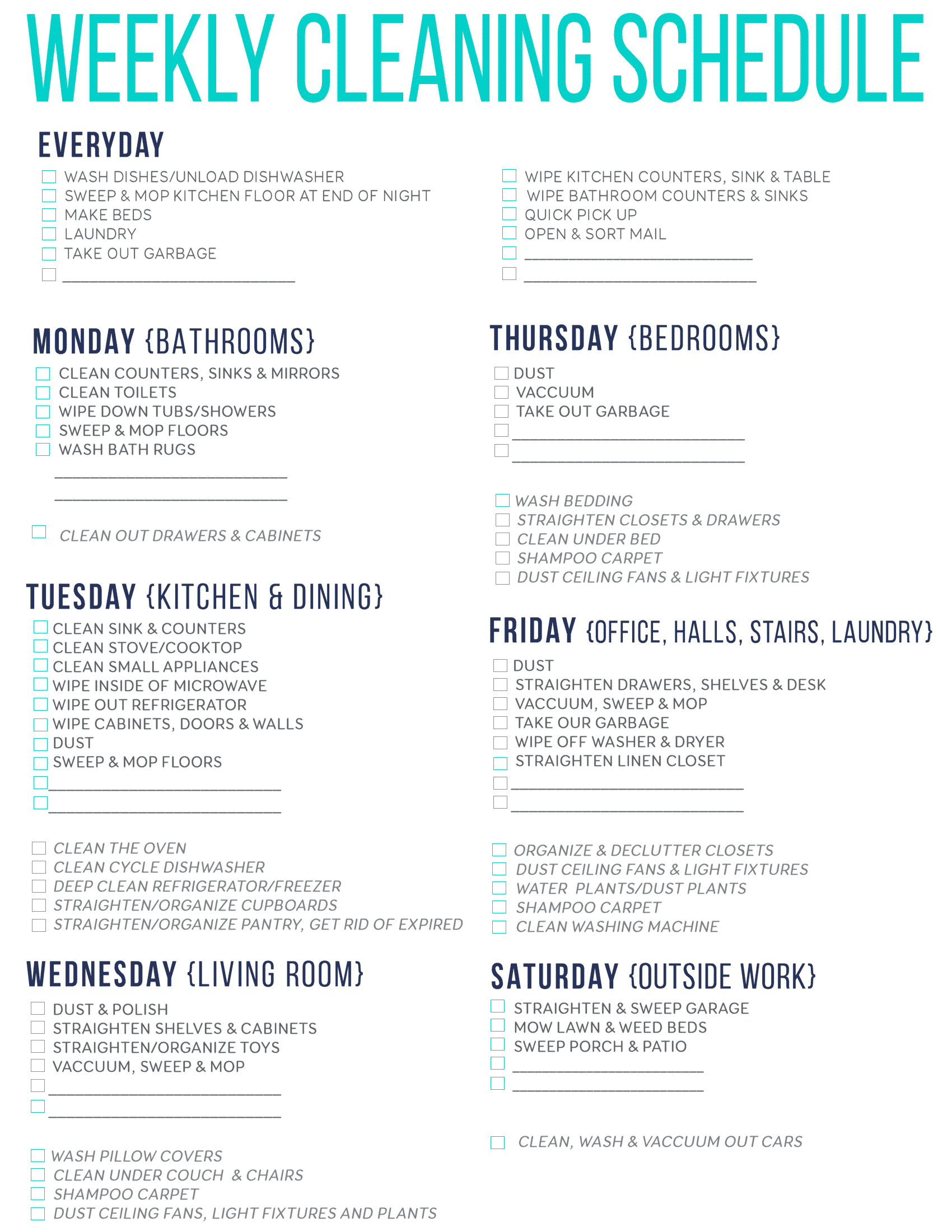 Bonus: Get a customizable free printable cleaning schedule