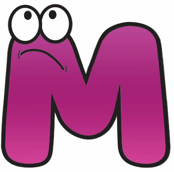 Free Printable Colorful Cartoon Letters Cartoon Letter M