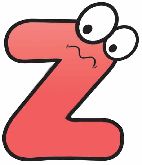 Free Printable Colorful Cartoon Letters Cartoon Letter Z