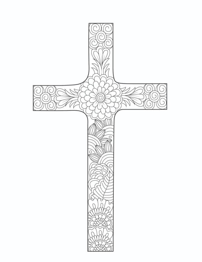 This very ornate cross makes a fantastic free printable coloring page Easter cross.