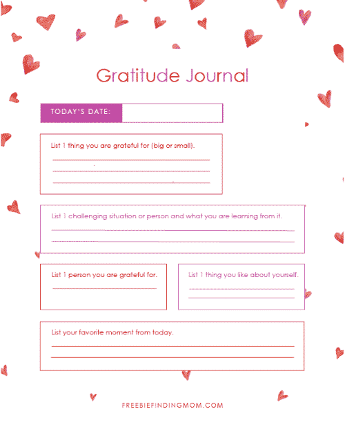 free printable gratitude journal template