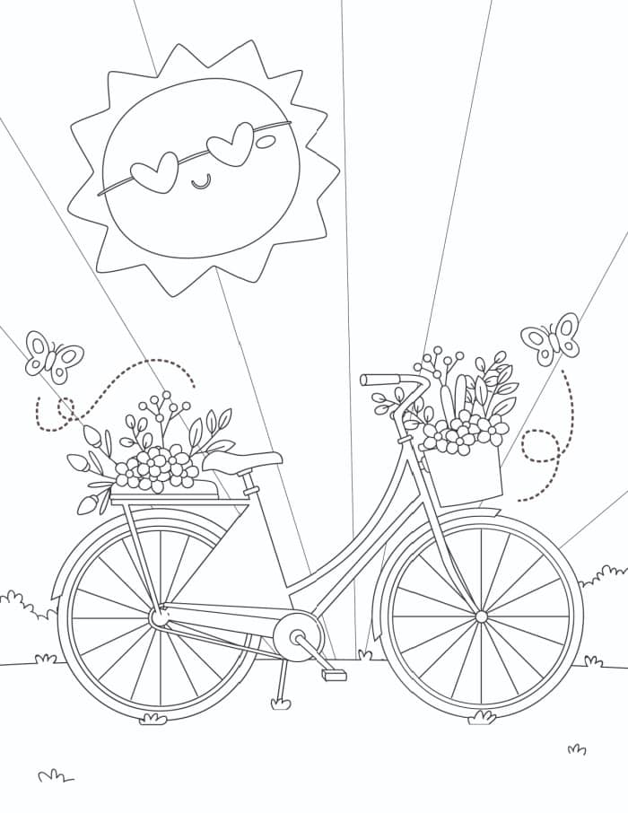 Let's hope that spring has as much sunshine as this fun free printable spring flowers coloring page for adults download!