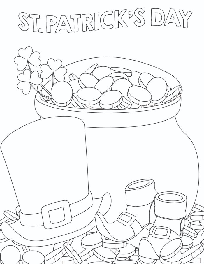 Go for the gold with the first of the 3 free printable St Patrick's Day coloring pages for adults, which features heaps of gold!
