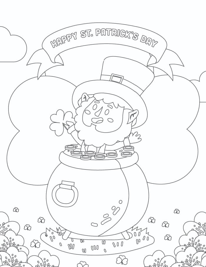 This free printable St. Patrick's Day coloring page with a leprechaun and shamrocks would make for great printable St Patrick's Day decorations when complete!
