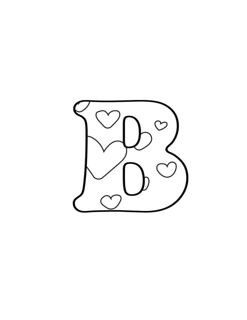 free printable Valentine bubble letters bubble letter B
