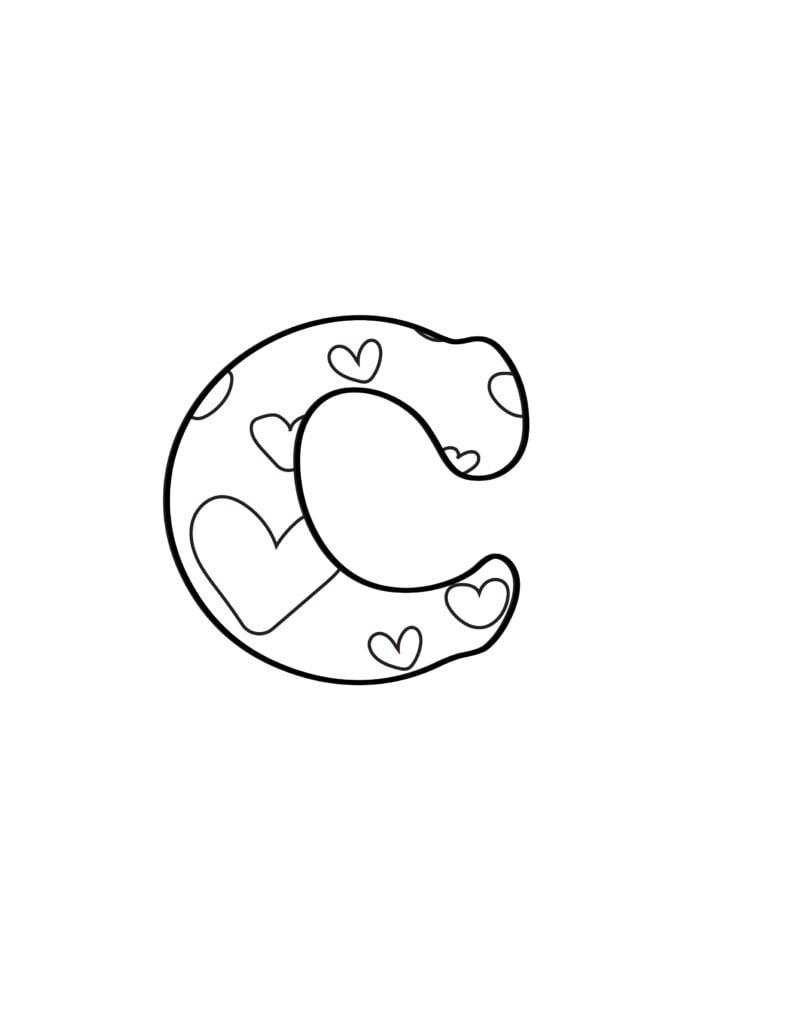 free printable Valentine bubble letters bubble letter C