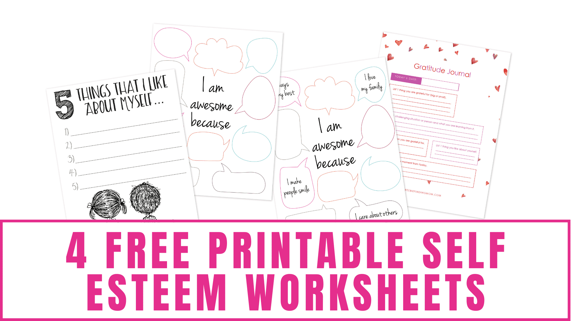These free self esteem worksheets for kids just asks them to list five things they like about themselves.