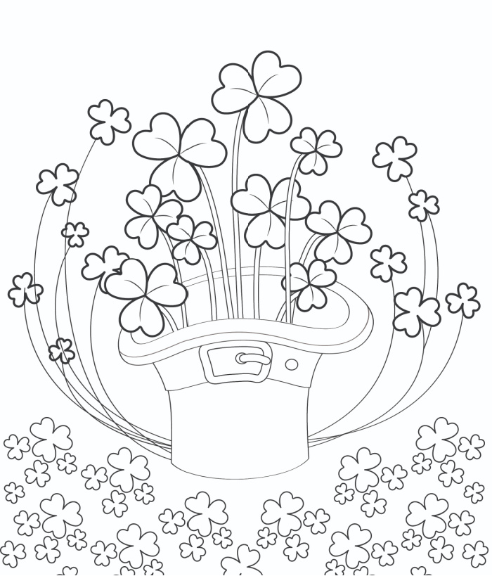 This free shamrock coloring page printable contains a hat that is bursting with shamrocks.