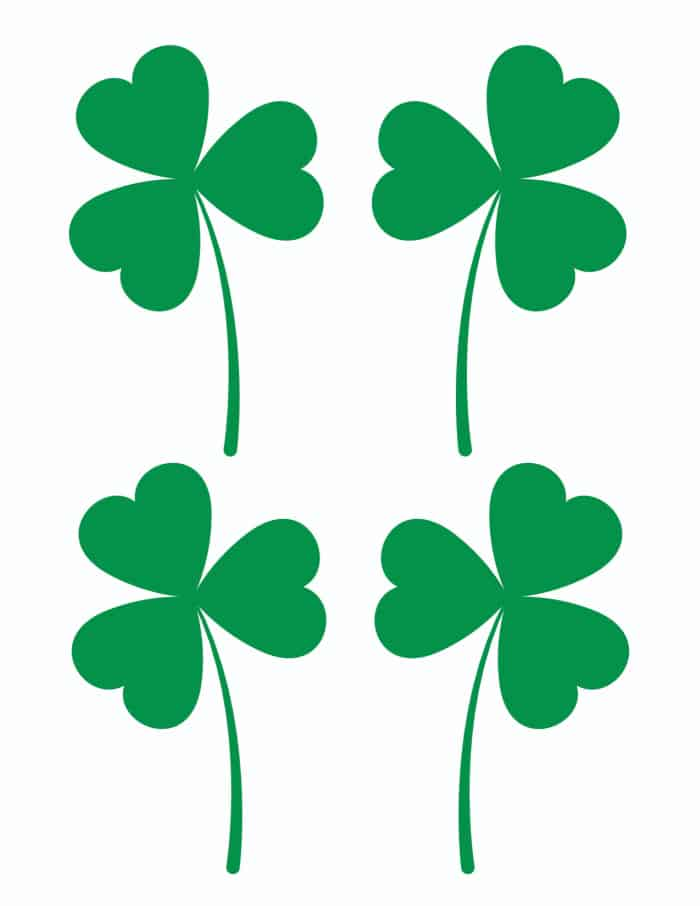 This free small green printable shamrock template can be used to decorate smaller crafts, like a page in a scrapbook.