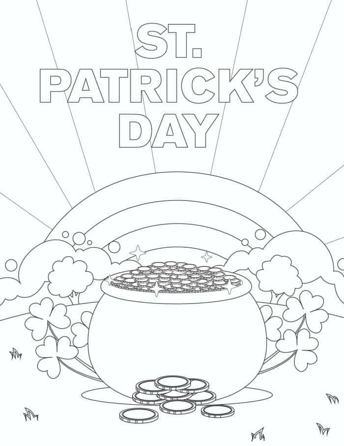 The last of the free St. Patrick's Day printable coloring page for adults is sure to brighten your day with its sun rays and rainbow!