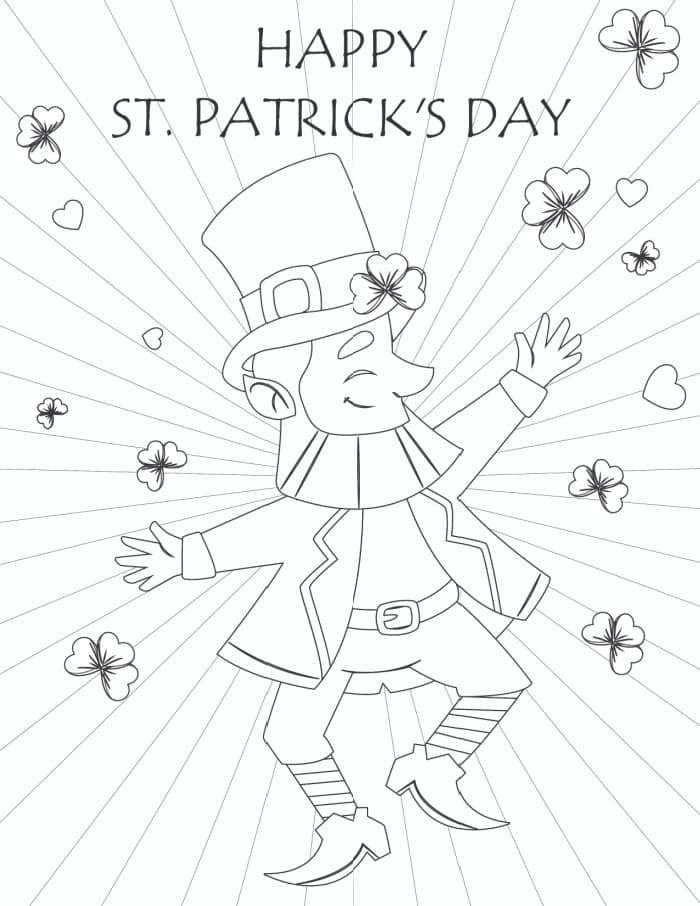 If you're for free printable St Patrick's Day activities, try this free St. Patrick's Day printable coloring page with a dancing leprechaun and shamrocks.