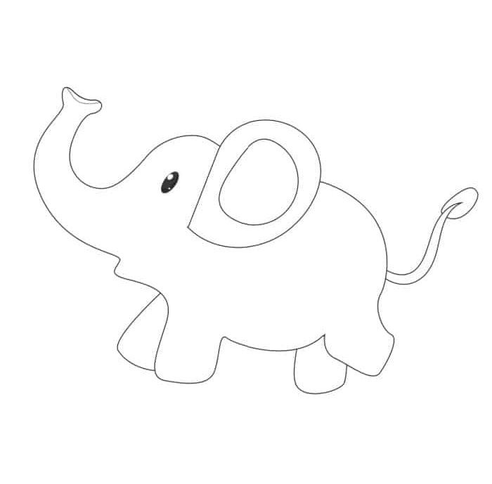 This cute free printable baby elephant outline is almost too adorable; it would be perfect for a baby shower or nursery.