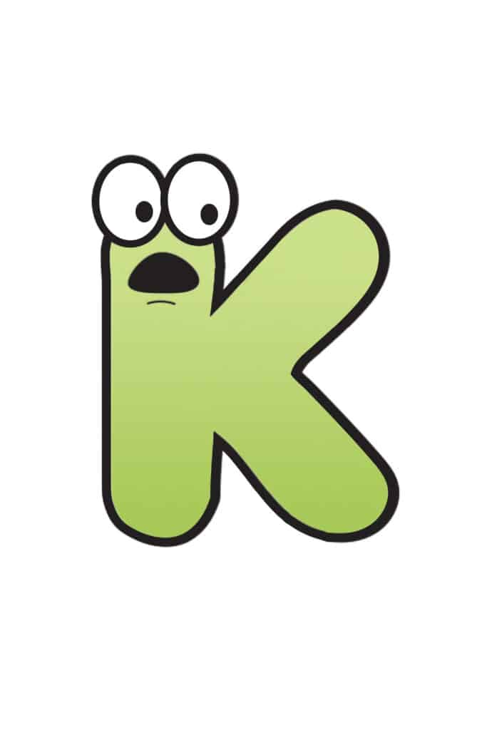 Free Printable Colorful Cartoon Letters Cartoon Letter K