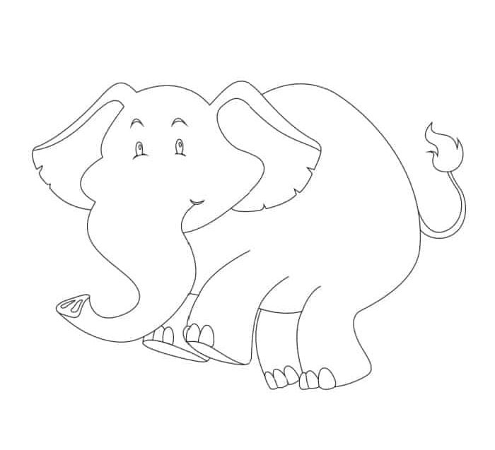 The elephant in this simple free printable elephant outline looks slightly mischievous; use this printable as a coloring page or to decorate
