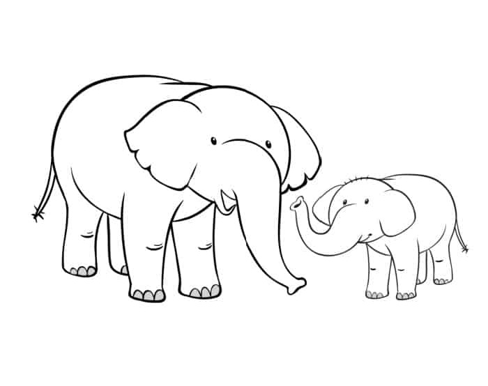 This free printable mom and baby elephant outline is a two-for-one, featuring a mom and a baby elephant.