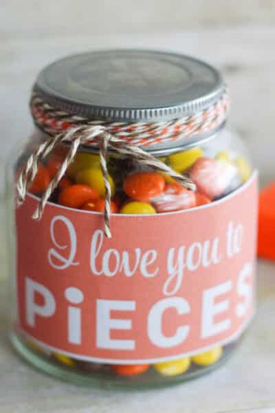 I love you to pieces printable template and DIY Mason jar gift