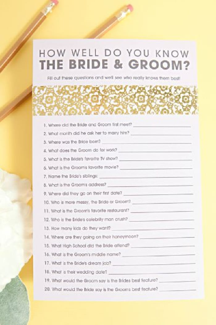 Find out who knows the bride best with this bridal shower games free printable!