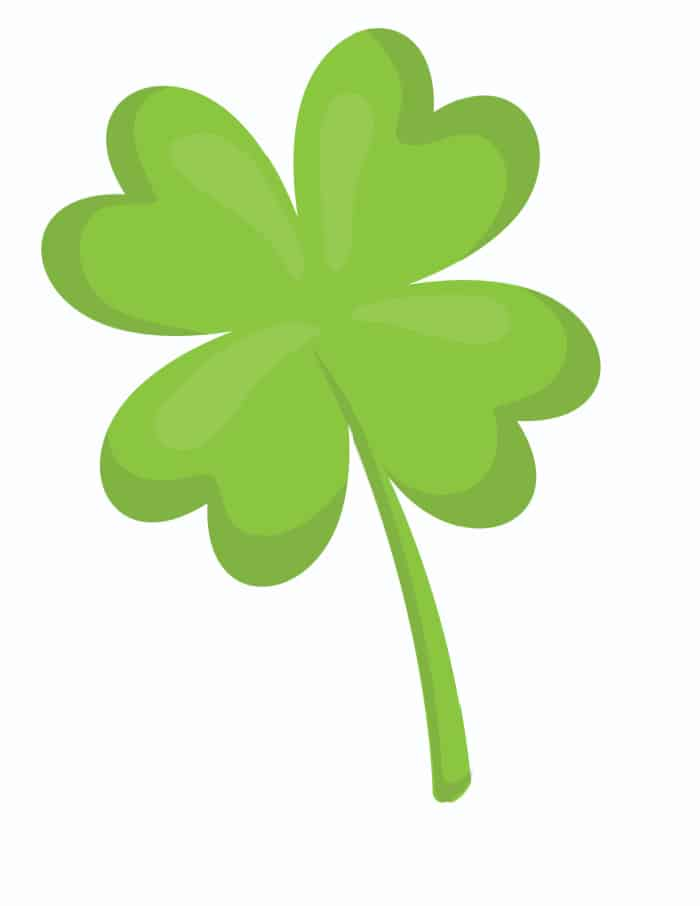 This large and bright four leaf clover is a great printable St Patrick's Day decoration!
