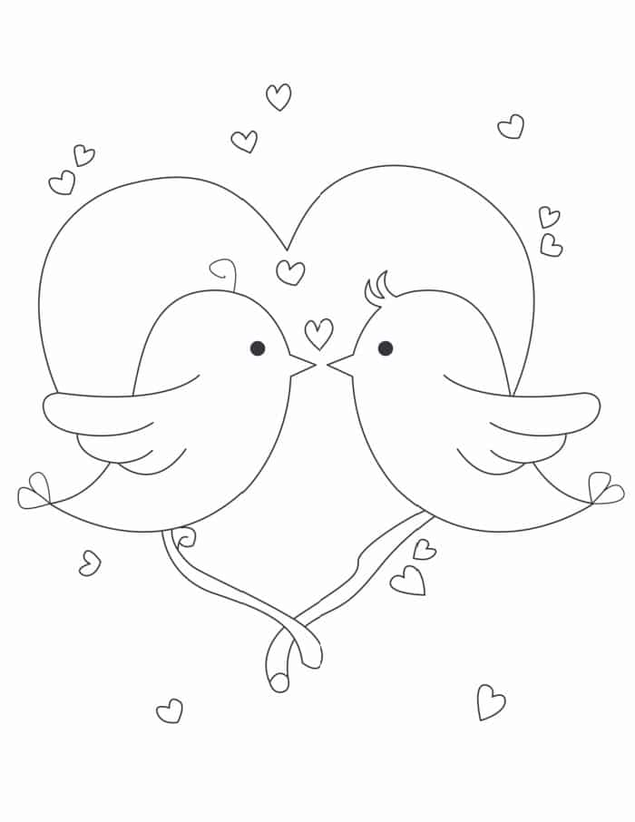 Share the love with this free love birds coloring page for adults and kids!