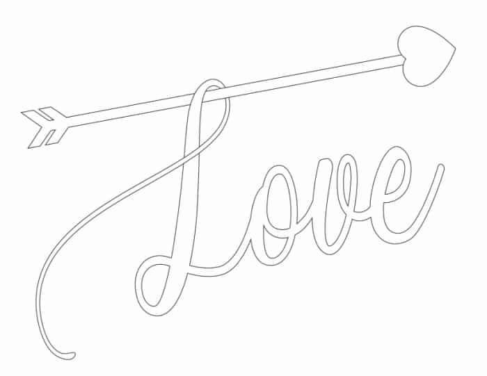 Use this cupid's arrow love coloring page for adults to tell someone special you care.