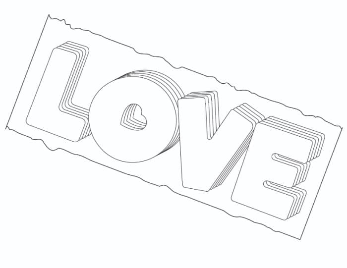 If you're an out-of-the-box creative thinker, this stacked love in bubble letters free printable is right up your alley!
