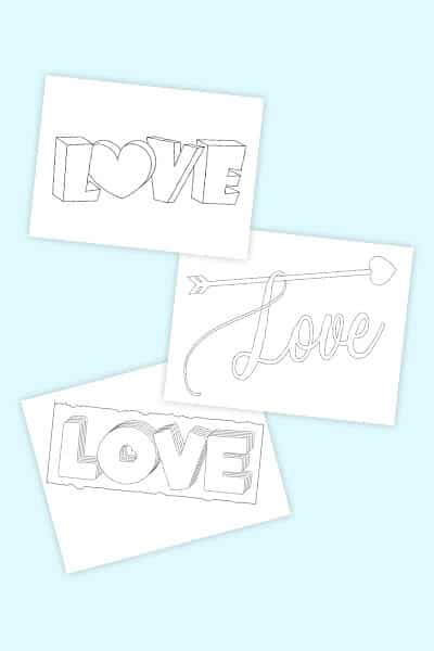 love in bubble letters free printables