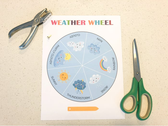materials for free weather wheel preschool activity