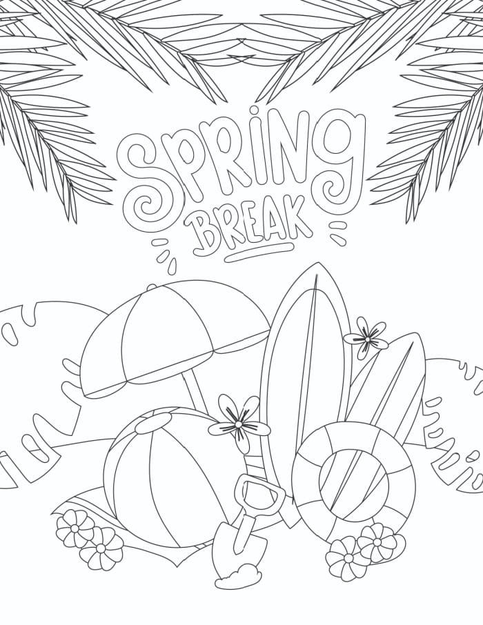 If you can't visit the beach this year this free printable spring break coloring page featuring a tropical escape may be the next best thing.