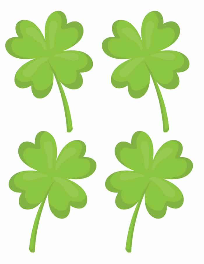 If you're looking for printable St Patrick's Day activities, use these small four leave clover printables in a scavenger hunt