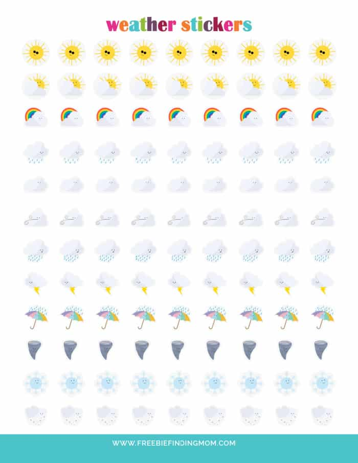 weather stickers for planner printable