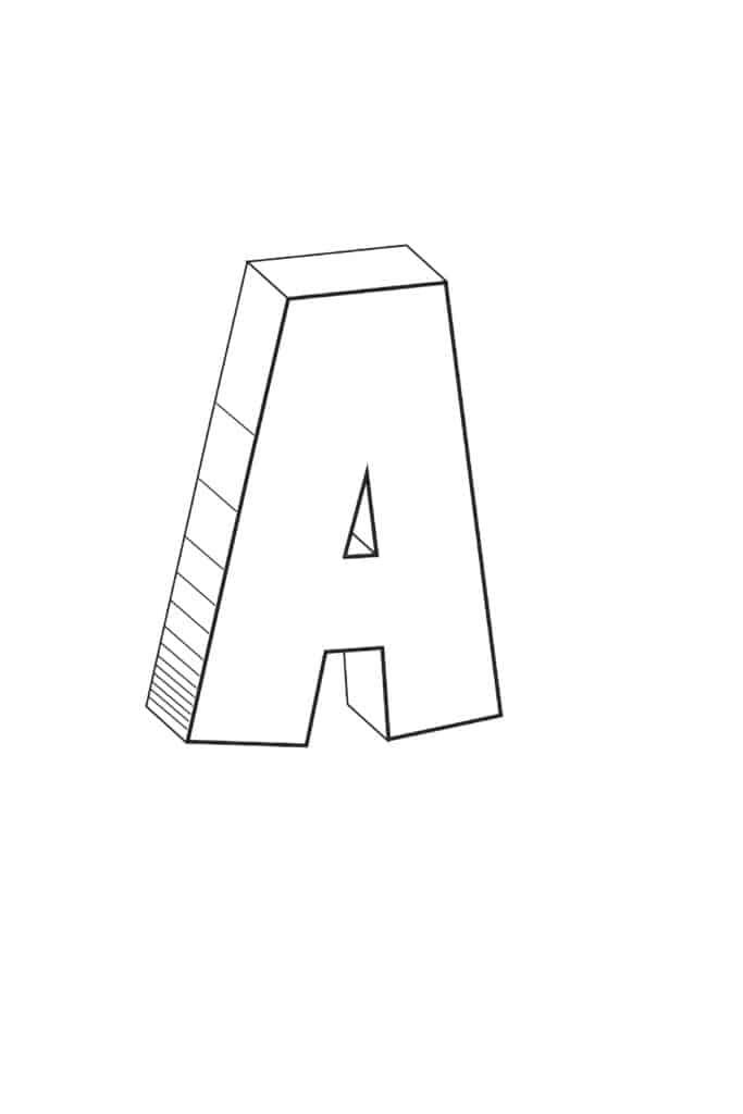 printable 3D bubble letter A