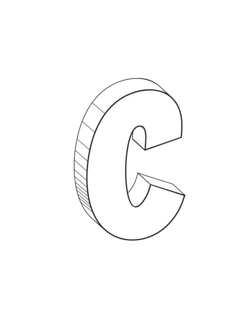 Printable 3D Bubble Letter C