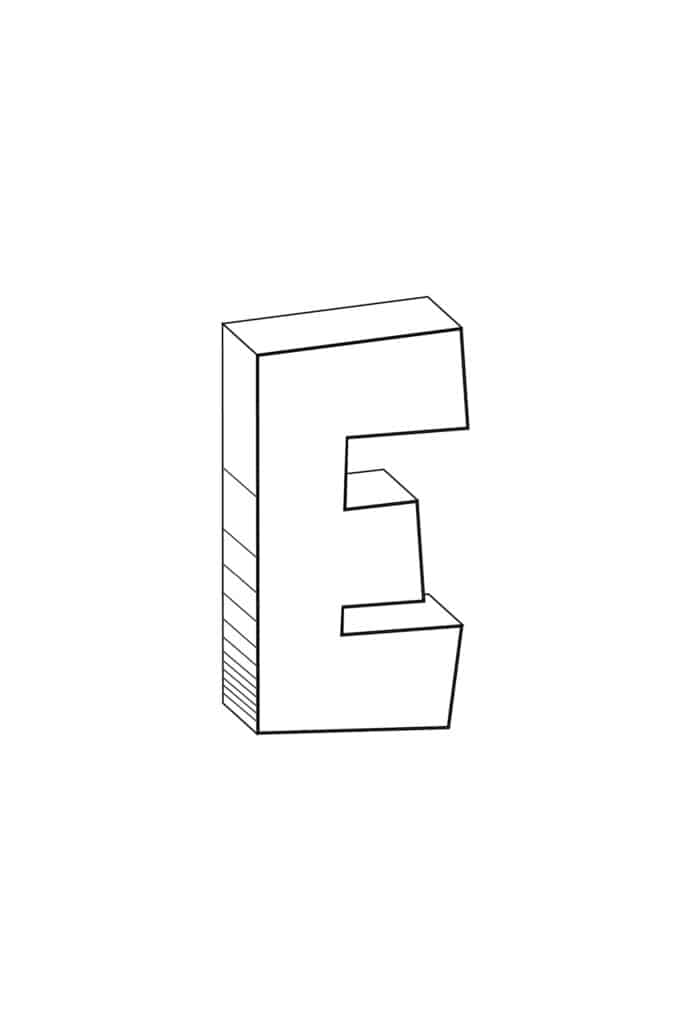 free printable cool bubble letter E