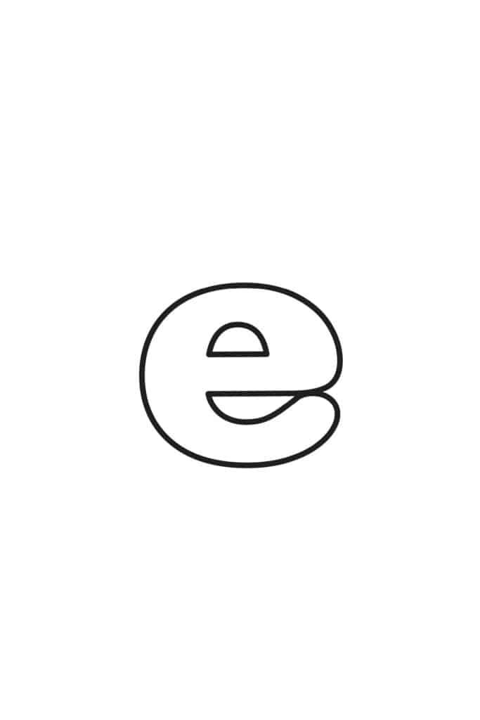 free printable lowercase bubble letters lowercase E bubble letter