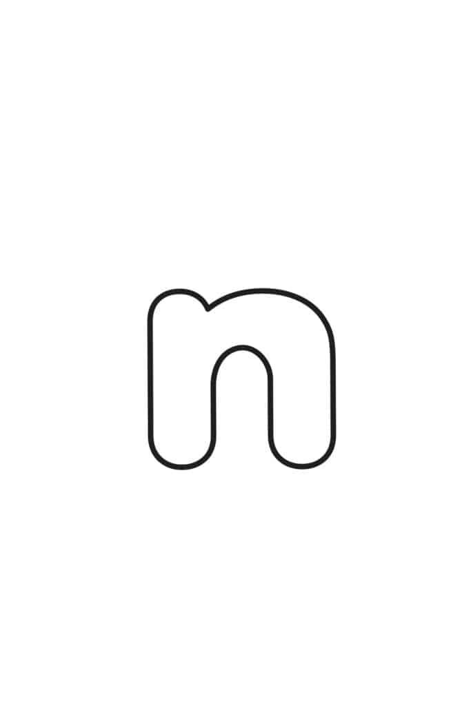 free printable lowercase bubble letters lowercase N bubble letter
