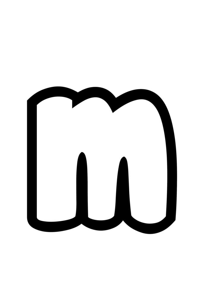 free printable lowercase m bubble letter stencil