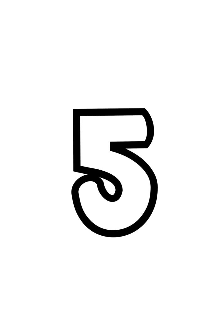 Download a bold printable number 5
