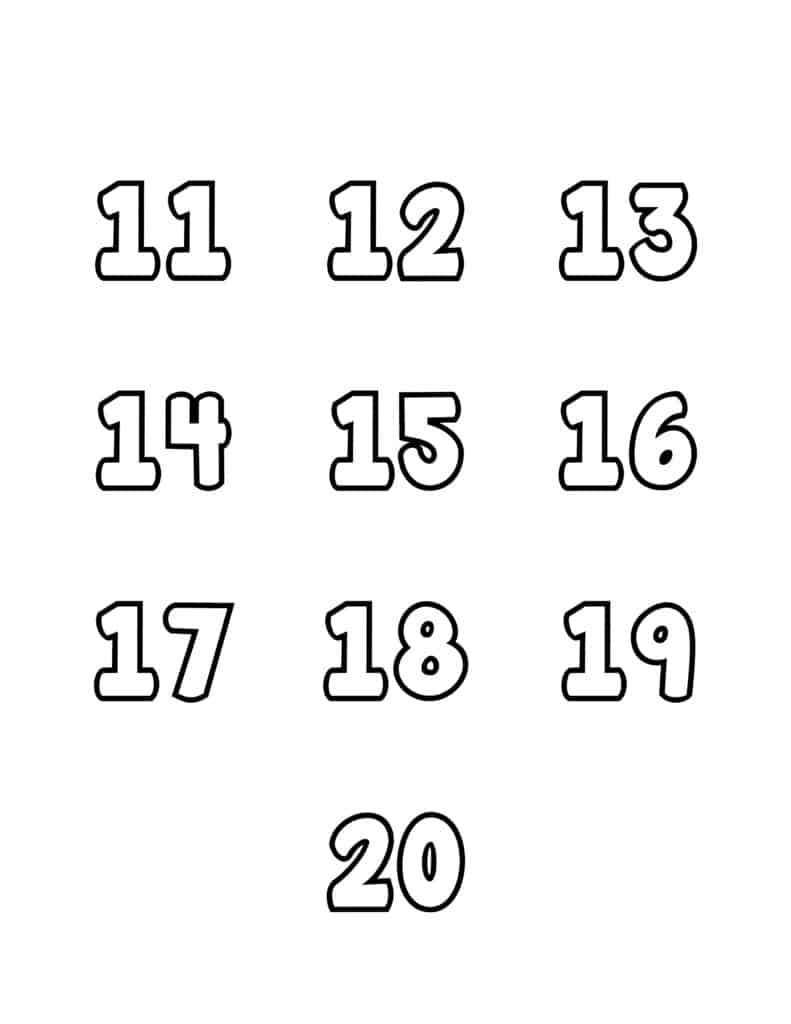 free printable number bubble letters bubble numbers set 11-20