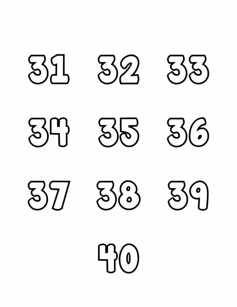 free printable number bubble letters bubble numbers set 31-40