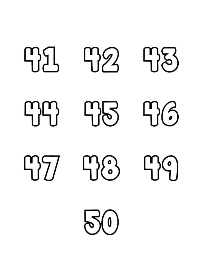 free printable number bubble letters bubble numbers set 41-50